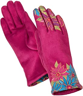 Mauve Floral Printed MicroSuede Women's Gloves