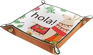 FCZ Plateau de rangement en cuir d'alpaga lama Hola pour table de chevet ou bureau - Boîte de rangement pour bijoux, clés,...