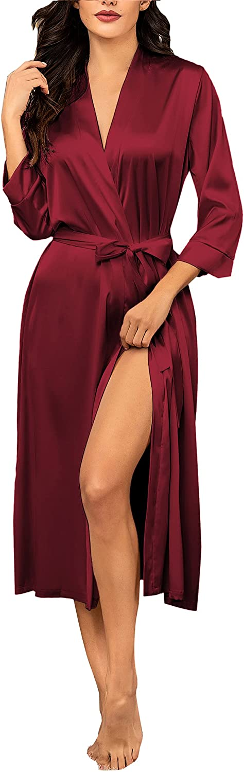 Hotouch Silk Robes for Women Long Bridesmaid Wedding Party Satin Robes Sleepwear with Pockets