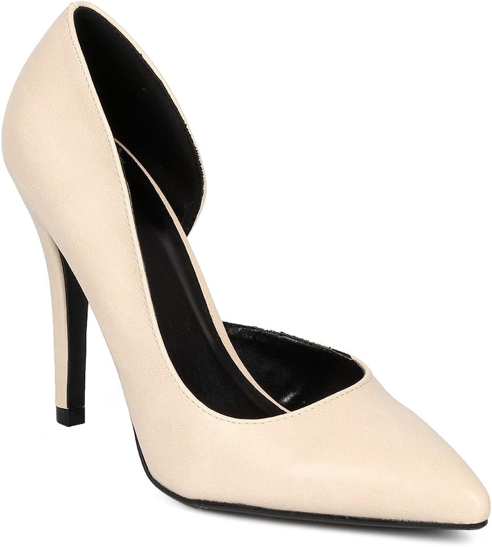 Delicious CG78 Women Leatherette Pointy Toe Open Shank Single Sole Stiletto Pump - Beige Leatherette