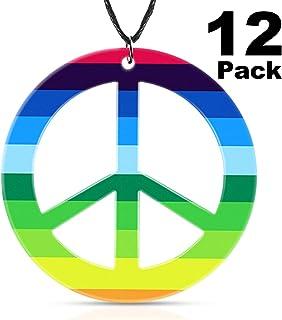 meekoo 12 Pieces Rainbow Peace Necklaces Plastic Peace Sign Pendant Necklace Costume Accessory 1960's Hippie Accessories