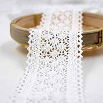 Outtybrave - Cinta de Encaje de algodón Blanco de 6 cm de Ancho para Manualidades: Amazon.es: Informática
