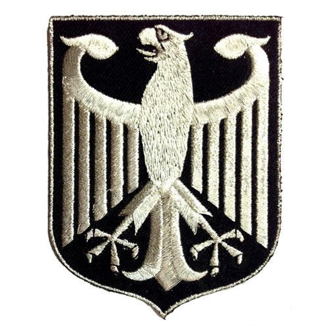 VEGASBEE Germany Eagle German Coat of ARMS Silver Metallic Black Patch BUNDESADLER Deutschland