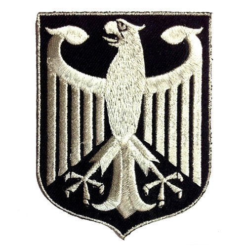 Germany Eagle Crest German Coat of Arms Silver Metallic Embroidered Iron-on Patch 3.5'H BUNDESADLER Deutschland