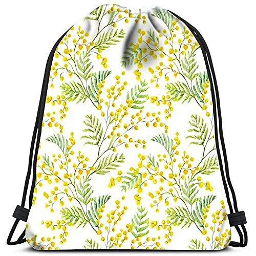 Dingjiakemao Sportbeutel Drawstring-Rucksack Schön Mit Aquarell-Mimosen-Blumen-Yoga-Läufer Daypack Shoe Bags