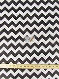 Big Z Fabric ZIG ZAG POLY COTTON PRINT FABRIC - White/Black- CHEVRON POLYCOTTON 59' 1' STRIPE (P219)
