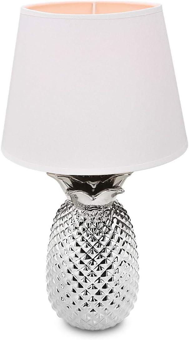 Navaris Silver Pineapple Table Lamp Light 13.8