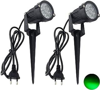 2 Packs, 5W LED Impermeable IP65, Luz de Paisaje al Aire Libre AC 85-265V Focos de exterior con enchufe, de iluminación Para Calzada, Patio, Cesped, Pathway, Jardín (Verde)