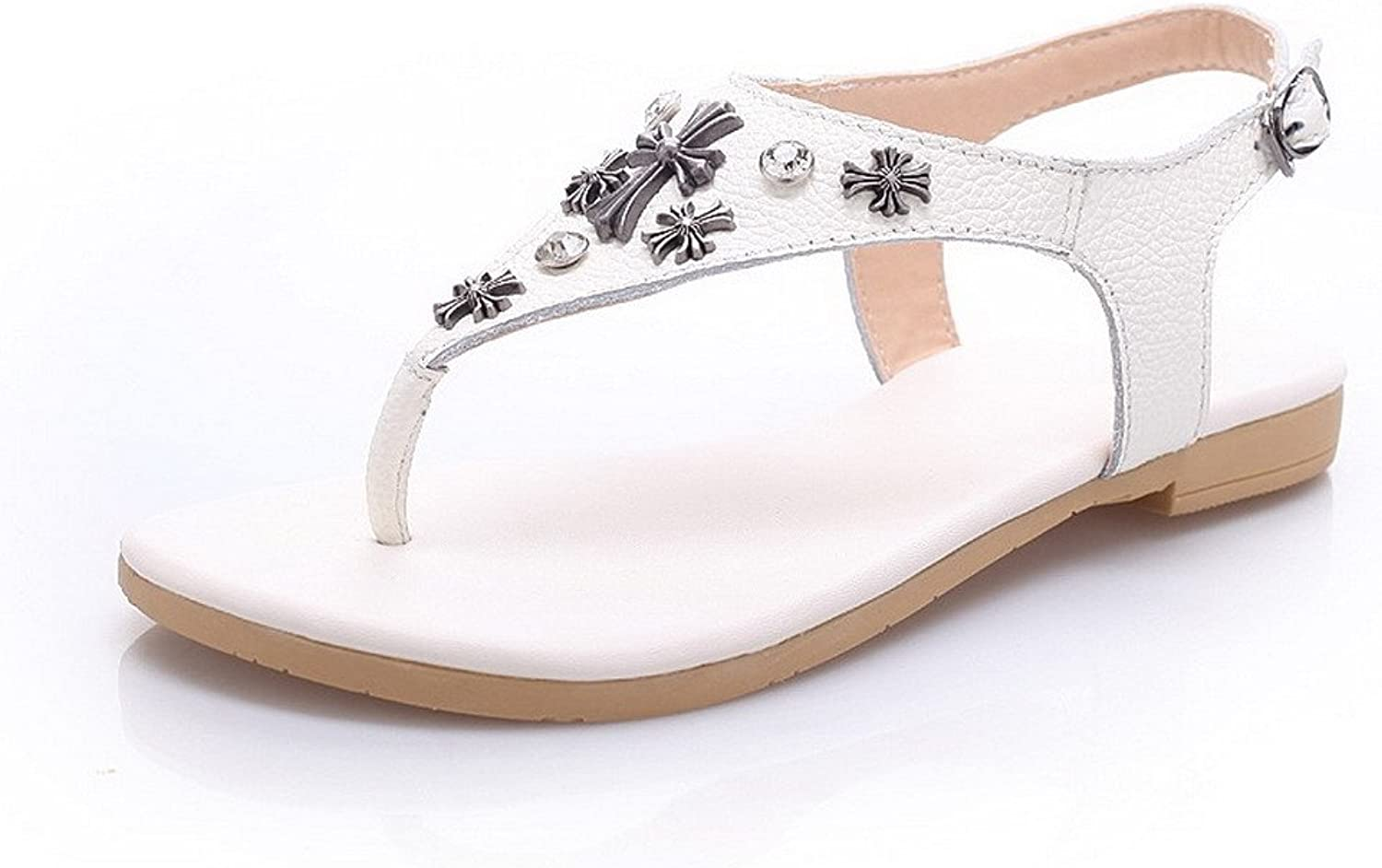 AmoonyFashion Women's Cow Leather Solid Buckle Open Toe No-Heel Sandals