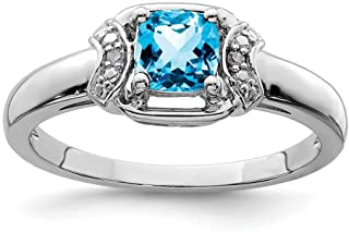 White Sterling Silver Ring Band Gemstone Swiss Blue Topaz Cushion Diamond Round