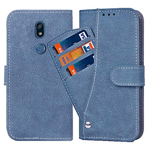 Asuwish LG K40 Hülle,Leder Lederhüllen klappbar Schutzhülle Wallet Hülle Mit Kartenfach Ständer Stand Dünn Stoßfest Panzerglas +Handyhülle für LG K40 Blau
