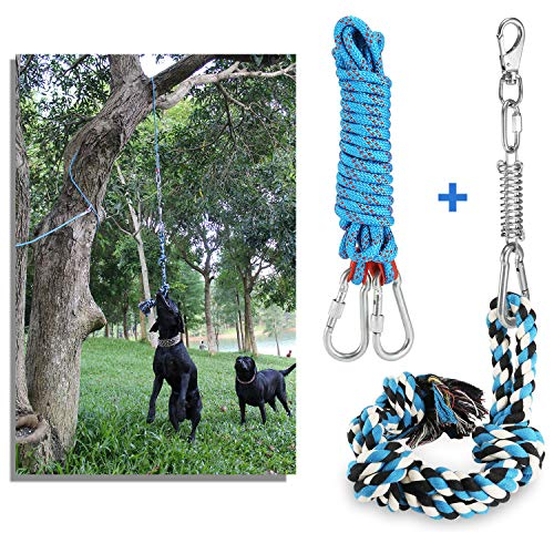 DIBBATU Spring Pole Dog Rope Toys with a Big Spring Pole Kit, Strong Dog Rope Toy and a 16ft Rope for Pitbull & Medium to Large Dogs Outdoor Hanging Exercise Rope Pull & Tug of War Toy-Muscle Builder