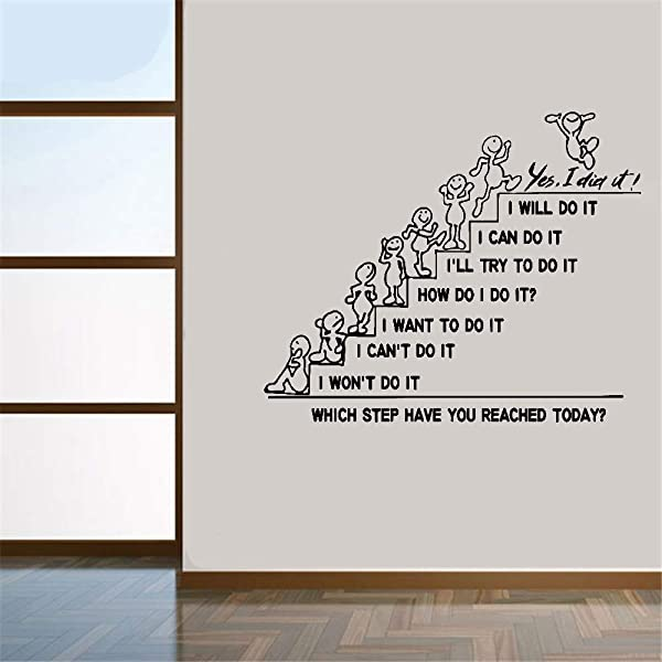 Ikonan Wall Decal Sticker Art Mural Home Decor Quote Which Step Have You Reached Today I Will Do It Yes I Didi It For Nursery Kids Room Classroom School