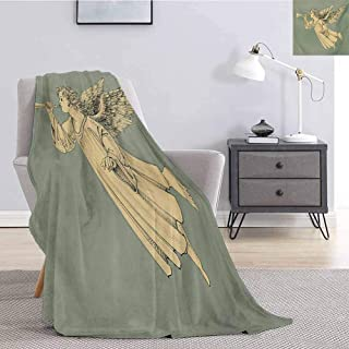 Christmas Commercial Grade Printed Blanket Flying Christmas Angel with Wings Playing Trumpet Mythological Ancient Artwork Queen King W70 x L70 Inch Yellow Mint