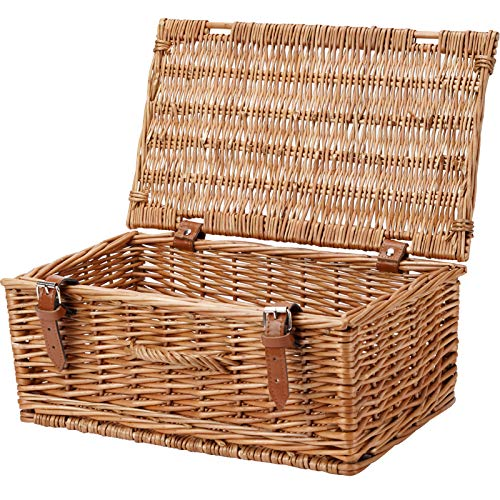 HappyPicnic 16' Empty Wicker Picnic Hamper, Storage Basket, Gift Pack Basket-Honey Color