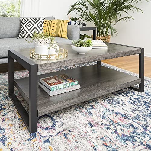 Best Walker Edison Furniture Company Industrial Modern Rectangle Metal Base and Wood Coffee Table Living