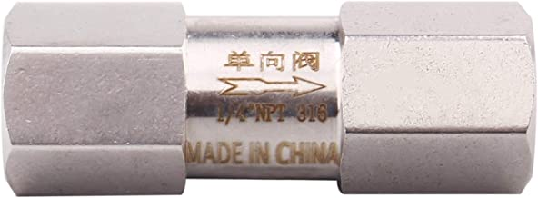 """Stainless Steel Check Valve 1/4"""" NPT Female High Pressure 70 PSI Cracking Pressure One Way Check Valve PTFE Seal"""