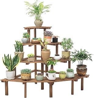 Stand para macetas 4 Niveles Soporte de la Planta de Metal Macetas Plantas de Plantas Flores para Decoraci/ón Exterior Interior Negro 84 /× 48 /× 25 cm