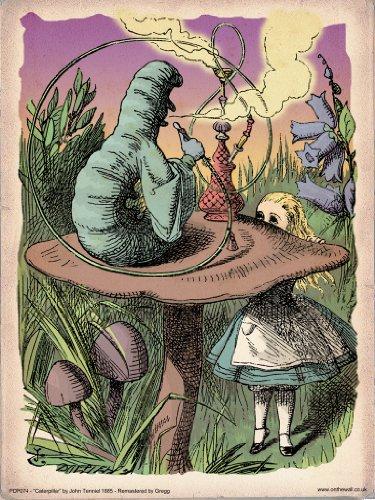 PDP 074 Poster, Motiv: Alice im Wunderland, Motiv: Raupe, Vintage-Stil, 40 x 30 cm