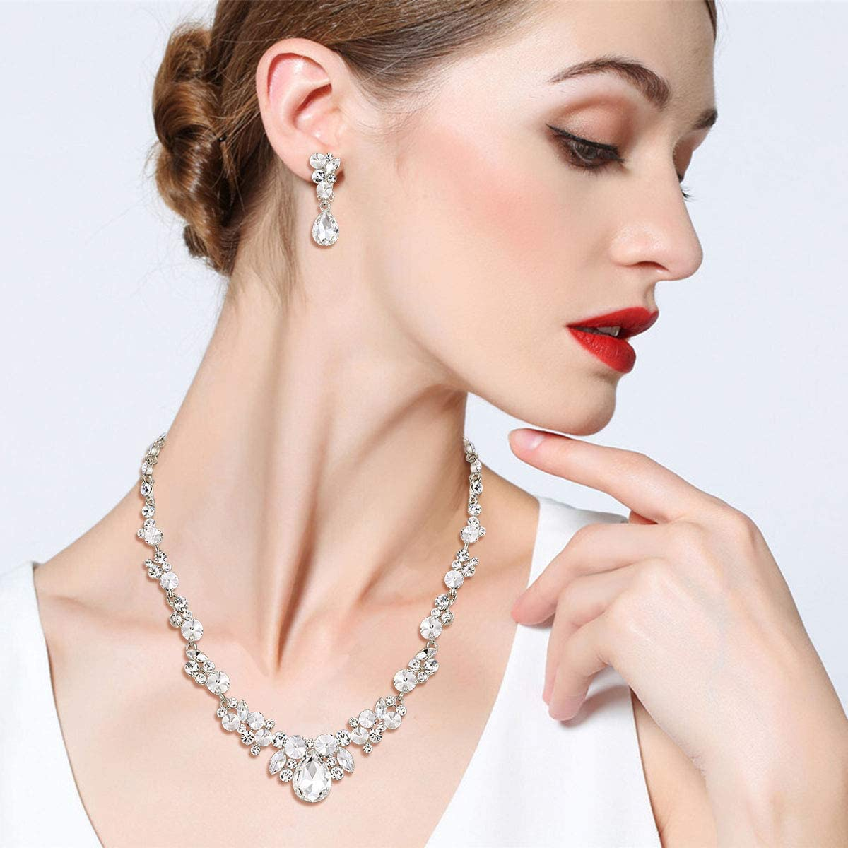 EVER FAITH Wedding Prom Jewelry Rhinestone Crystal Wedding Floral Waterdrop Necklace Clip-on Earrings Set