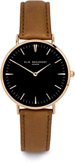 a805e5c3762 Elie Beaumont Women's Quartz Large Watch with Black Dial Analogue Display  Oxford Large - Camel Nappa