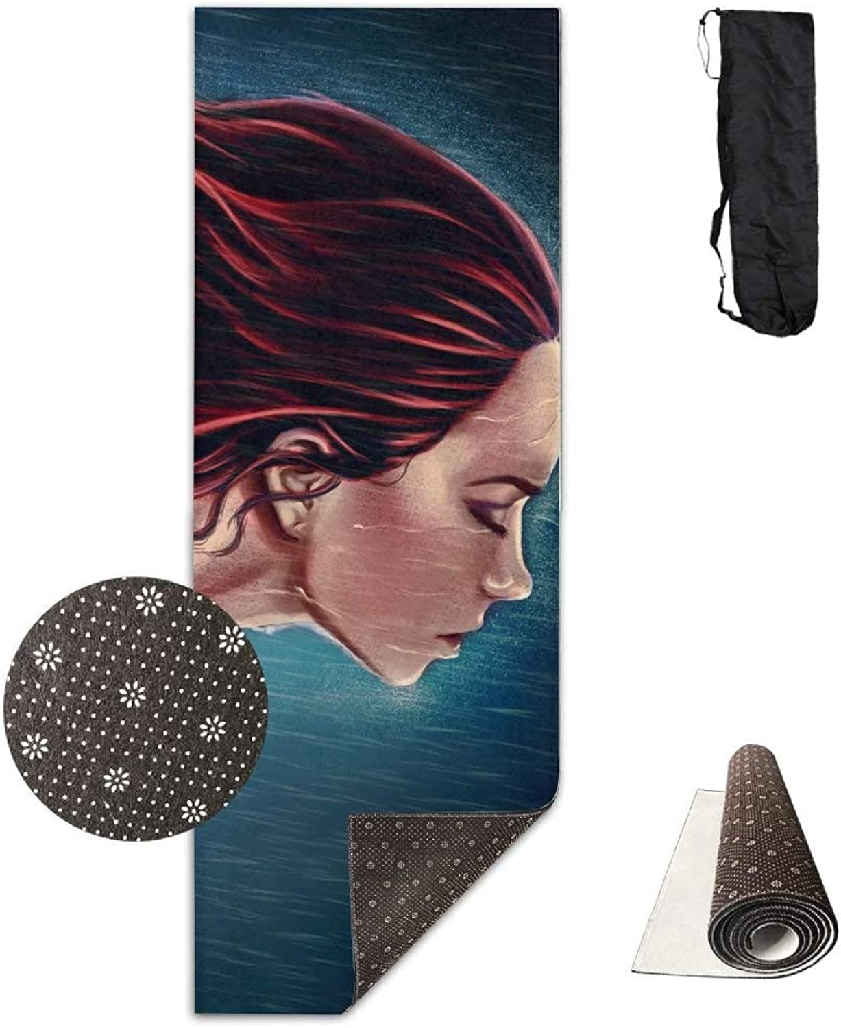 Red Haired Woman Tears Rain ECO Aqua Power Kinematic Iyengar Kundini Hot Pilates Gymnastics Hatha Yoga Mat Exercise Mat