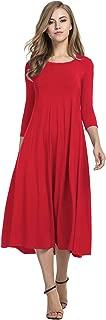 Women's 3/4 Sleeve A-line and Flare Midi Long Dress