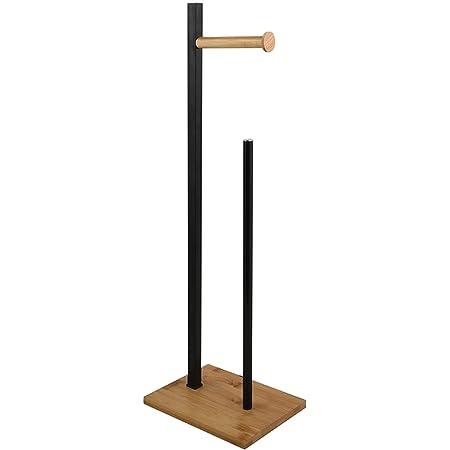 Spirella Porte-papier toilette à poser au sol -  20x 68x18cm (lxHxP) - En bambou naturel - Noir