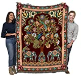 Asian Elephants - Tree of Life - Cotton Woven Blanket Throw - Made in The USA (72x54)
