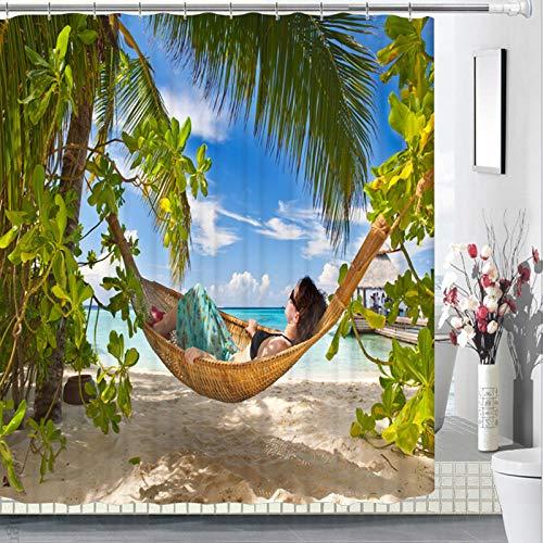 Cortinas de Ducha Modernas Cortina baño Tela Impermeable Antimoho con Shower Curtain de Fibra Poliéster Resistente al Moho con Diseño de Dobladillo Ponderado Playa 180x180 cm