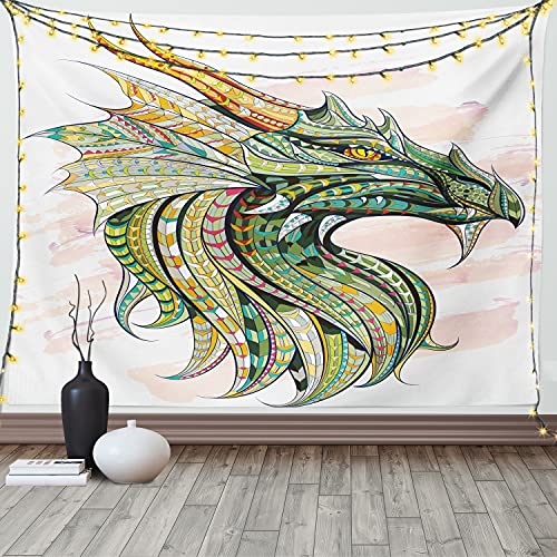 Ambesonne Celtic Tapestry, A Head of Dragon with Ornate Effects on a Grunge Backdrop of Mythical Animal Creature of an Artwork, Wide Wall Hanging for Bedroom Living Room Dorm, 60' X 40', White Green