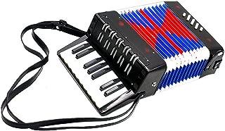 Children Accordion Instrument,Christmas Kids 17-Key 8 Bass Mini Accordion Educational Piano Percussion Accordion Musical Toy Gift(Black)
