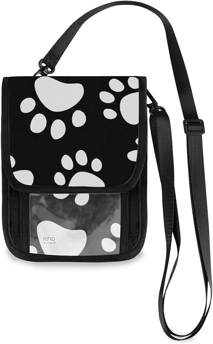 VIKKO Black White Dog Paw Travel With RFID New mail order Sale Special Price Wallet Blocking Neck