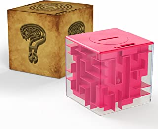 Acekid Money Saving Cube 3D Puzzle Money Maze Pot for Kids and Adults (Rose red)