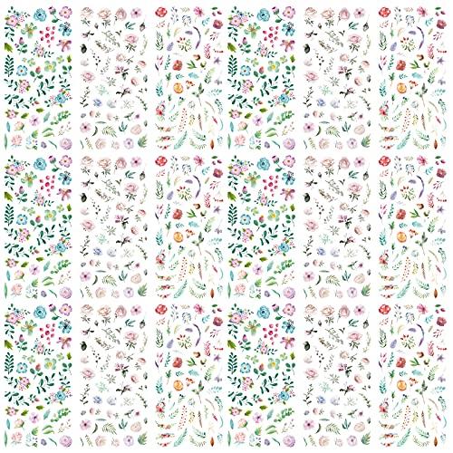 18 Blatt Sticker Blätter Grün Sticker Blätter Klein Sticker Gästebuch Hochzeit Scrapbook Sticker...