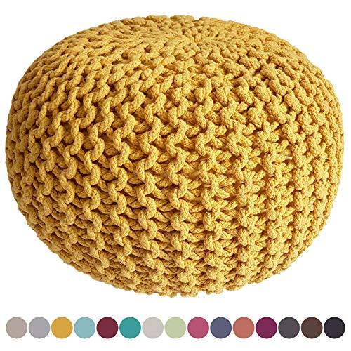 casamia Pouf Sitzpuff Strick Velours Sitzhocker Strickhocker Sitzpouf Bodenkissen viele Arten/Farben u. Maße Farbe ø 55 Terracotta Baumwolle