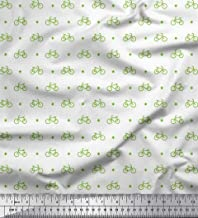 Soimoi Green Cotton Duck Fabric Diamond & Bicycle Shirting Print Fabric by Yard 42 Inch Wide