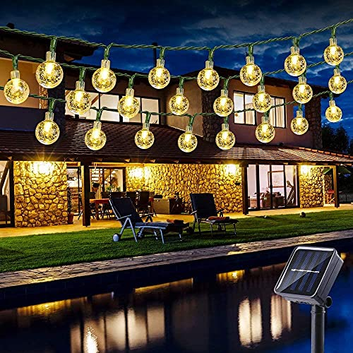 LIUDADA Cadena de luces solares de cristal para exteriores, 6 m, 30 ledes, resistente al agua, blanco cálido, para decoración de jardín, balcón, terraza, Navidad, fiesta