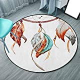 """Round Area Rugs Super Soft Living Room Bedroom Home Shaggy Carpet 3'7"""", Burnt"""