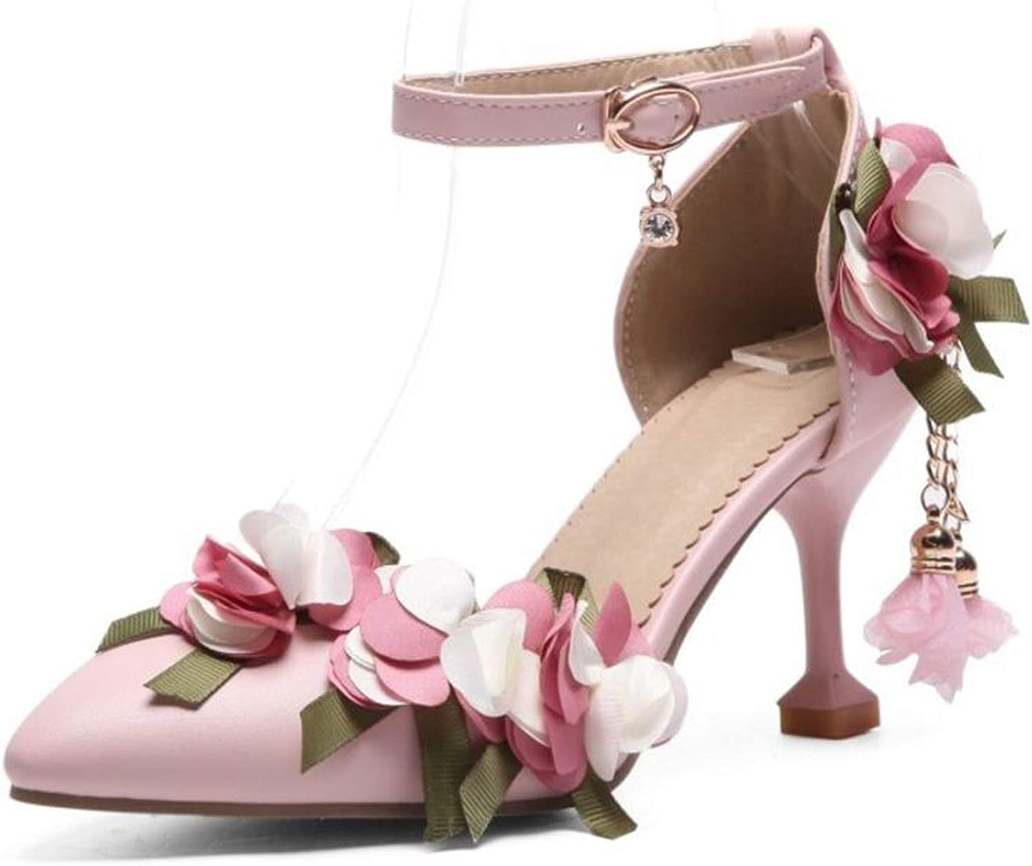 Fairly Sexy Flower High Heel Ankle Strap Pointed Toe Thin Heel Summer shoes,Pink,9