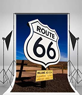 Yeele 4x5ft Historic Route 66 Photo Backdrops The Mother Road Diagonal Way Route 66 Road Sign Photography Background Children Boys Adults Portraits Photo Shoot Studio Props