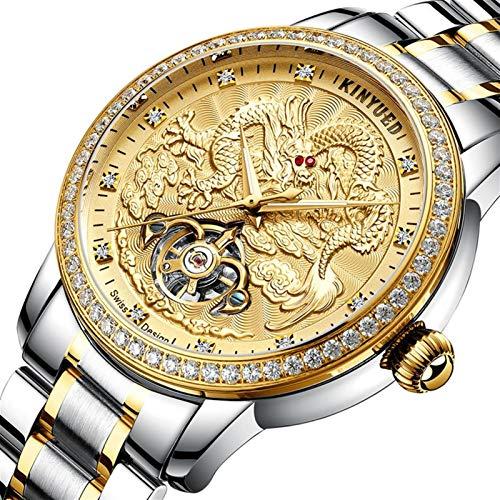 JTTM Reloj para Hombre, Fashion Business Classic Nuevo Diseño Dragón Reloj Pulsera Cuarzo Acero Inoxidable Impermeable Y con Dial con Diamante De Imitación para Hombre,Gold Silver
