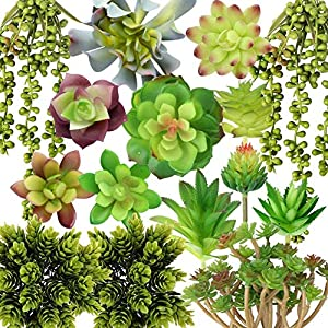 Silk Flower Arrangements OurWarm Artificial Plants Fake Succulents, 15 Pack Create Realistic Textured Succulents, Feaux Succulent Plants, DIY Living Artificial Hanging Plants, Faux Potted Succulent Decor
