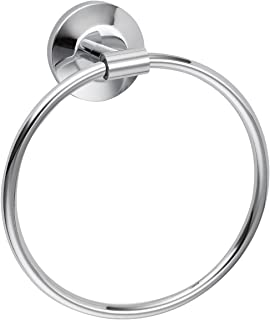 Hand Towel Holder, Bathroom Round Towel Ring Wall Mount, Standard Modern Towel Rack Door Hanger, Polished Chrome Silver