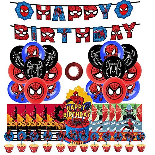 smileh Decoracion Cumpleaos Spiderman Globos Feliz Cumpleaos del Pancarta Adorno de Torta Tarjetas de Invitacin para Cumpleaos para Nios Nia Decoraciones de Fiesta de Spider Man