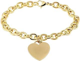 Brillibrum ID armband pansarkedja rostfritt stål med gravyrplatta silver guld läderarmband svart partner-smycke vänskapsar...