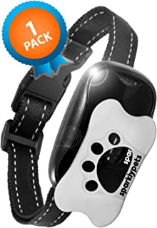SparklyPets Humane Dog Bark Collar | Anti Barking Training Collar | Vibrating, No Shock Stop Barking for Small Medium Large Dogs | (White and Black 1 Pack) (White and Black 1 Pack)