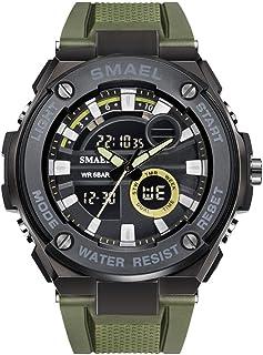 Men'S Electronic Watch, Analog Digital Watch With Plastic Belt Dual Time Zone 50 Waterproof EL Backlight Military User Spo...
