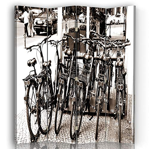 LegendArte Paravento Raumteiler für Fahrräder, Weiß und Schwarz 145 x 180 (4 Panele)