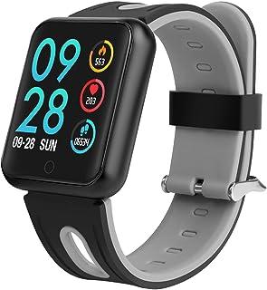 Reloj inteligente para fitness, monitor de frecuencia cardíaca, presión arterial, reloj deportivo, resistente al agua IP68, podómetro, monitor de sueño, notificación de SMS y llamadas, iOS y Android